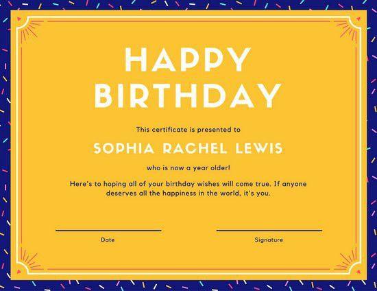Colourful Confetti Birthday Certificate - Templates by Canva