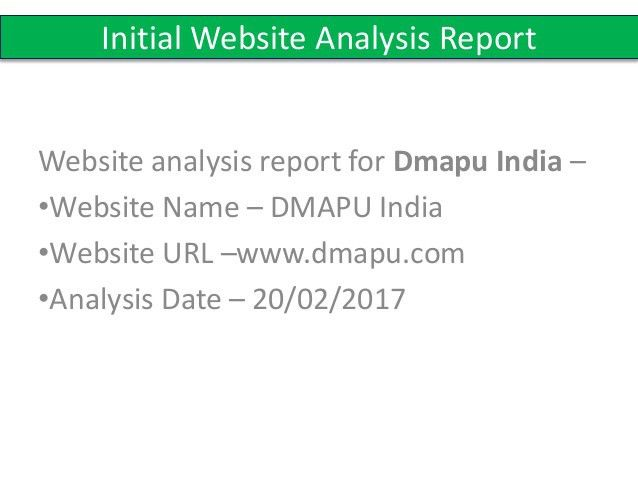 Initial website analysis report sample | ITTCD