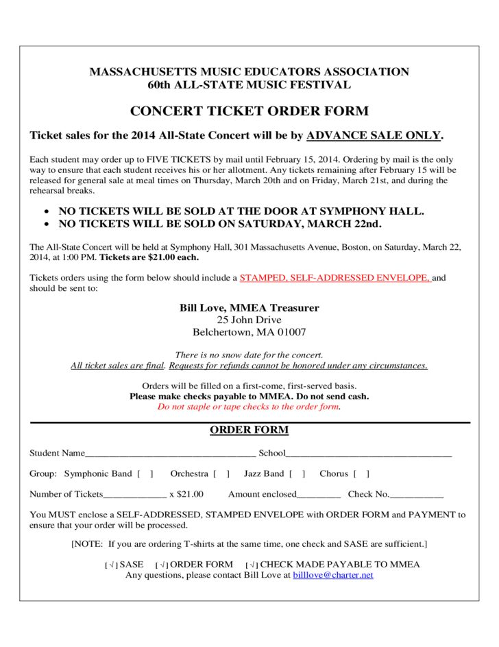 Concert Ticket Order Form Free Download