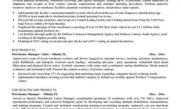 Example Resume Free Warehouse Resume Templates Free Warehouse ...
