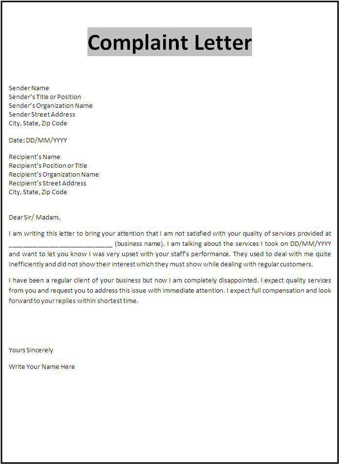 Complaint Letter Template   Templates   Pinterest   Letter templates