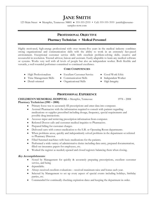 Best Pharmacy Technician Resume and Cover Letter : Vntask.com