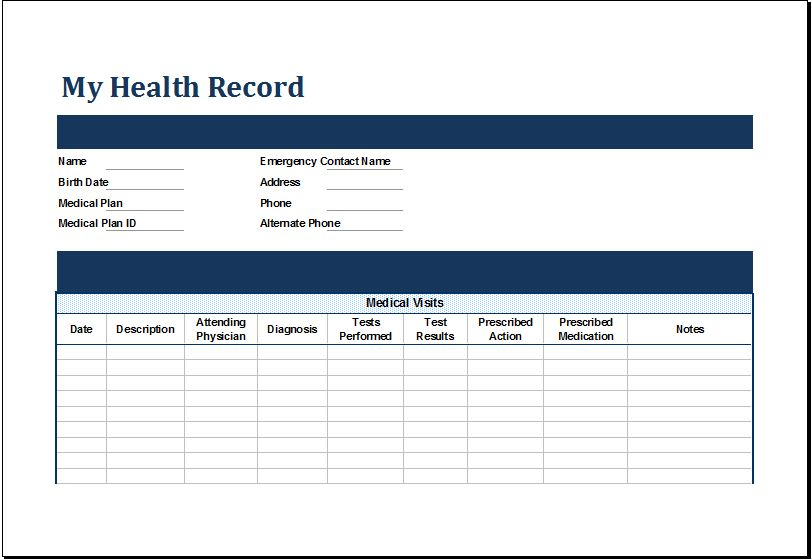 MS Excel Personal Medical Health Record Template | Excel Templates
