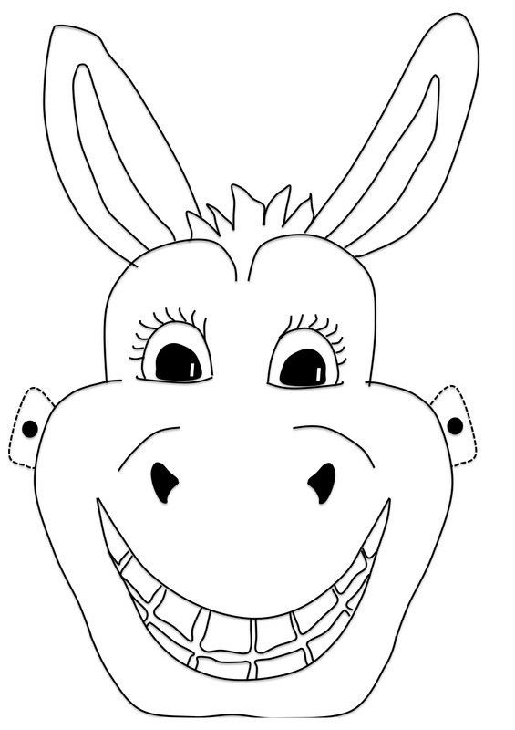 Donkey mask templates including a coloring page version of the ...