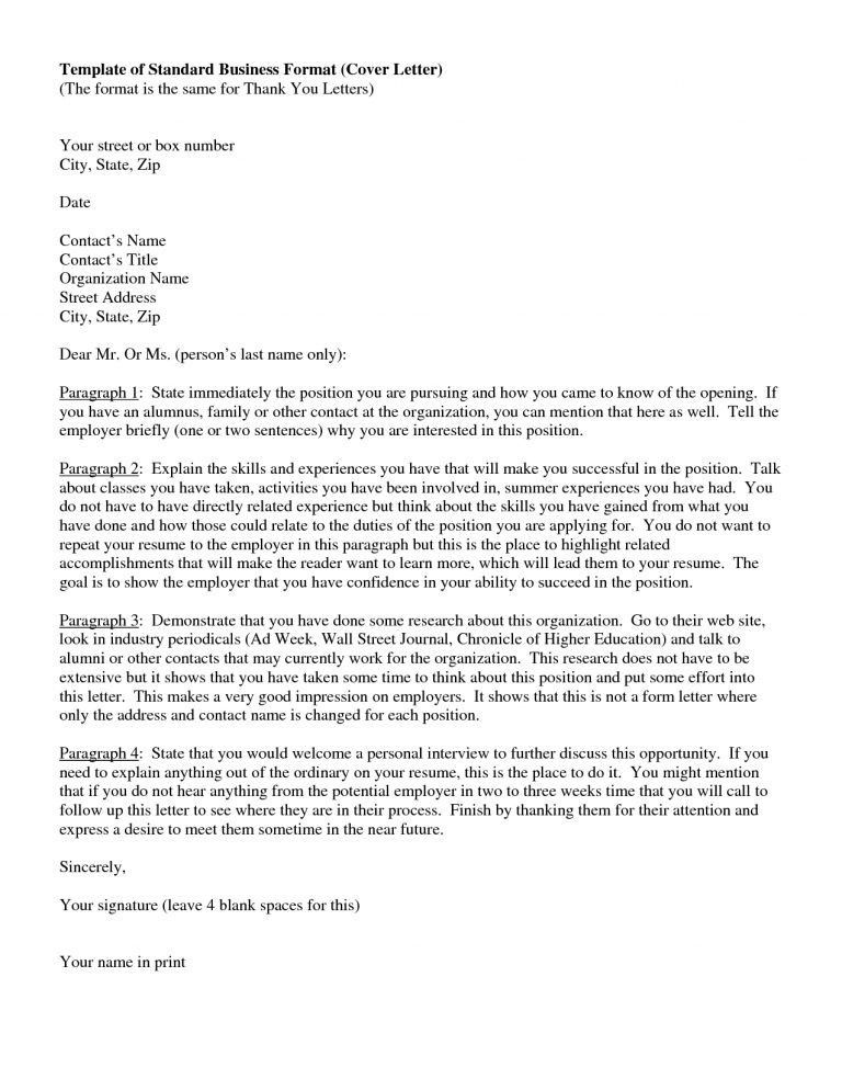 Creative Design Standard Cover Letter 11 Typical Format Writing A ...