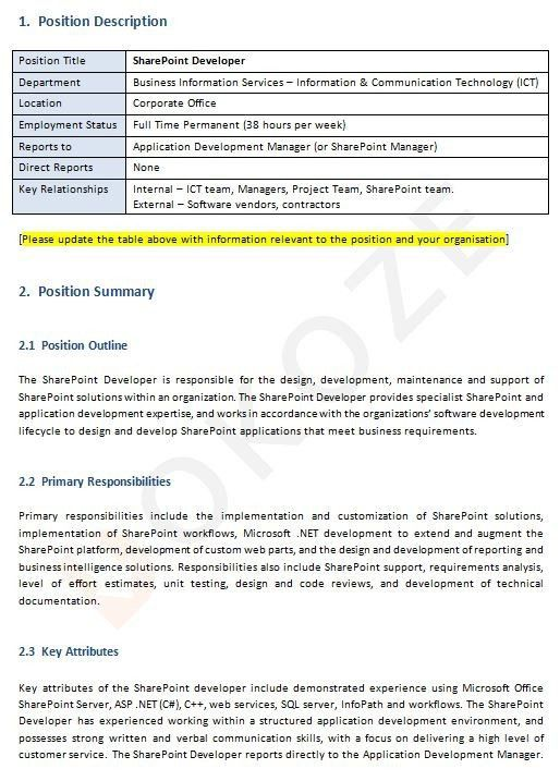 sharepoint developer responsibilities sharepoint administration