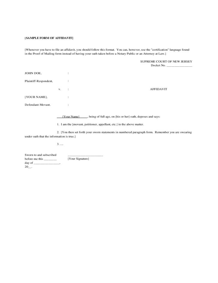 Sample Form of Affidavit - New Jersey Free Download