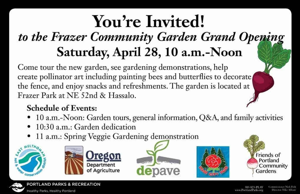 Garden Grand Opening this Saturday (April 28)! | Frazer Park ...