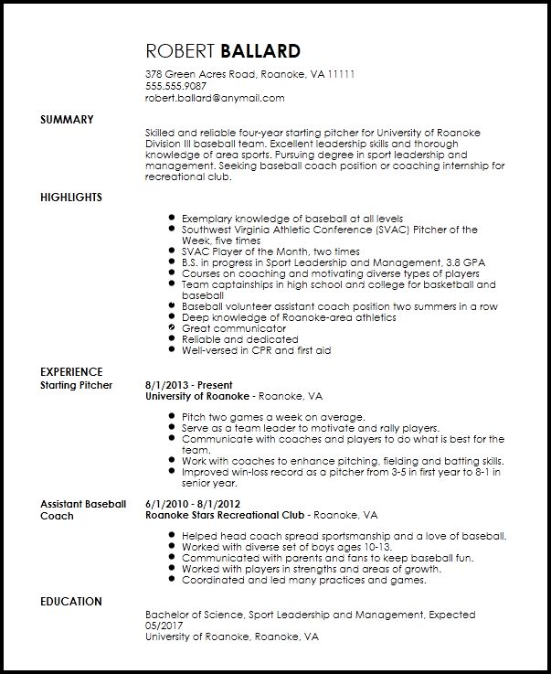 Free Entry Level Sports Coach Resume Template | ResumeNow