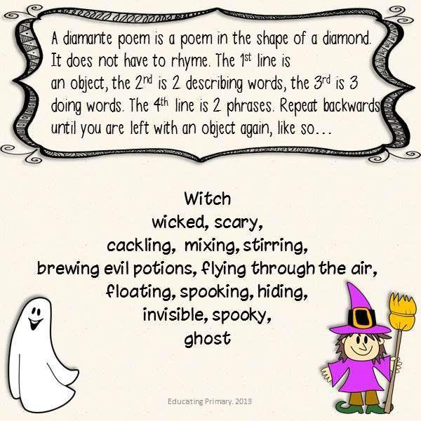 3 Diamante Poems in my Halloween Poems Pack :) Halloween Poems ...