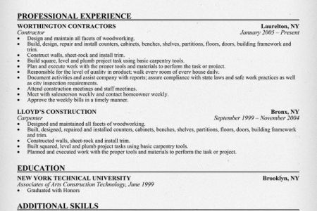 Construction Carpenter Resume Examples And Samples - Reentrycorps