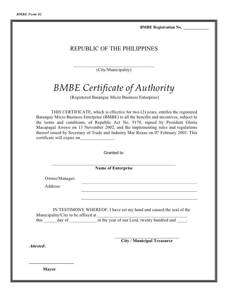 BMBE Law, IRR and Forms