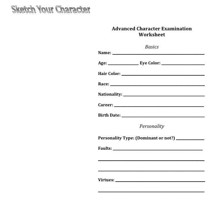 Character Profile Worksheet Worksheets For School - Toribeedesign