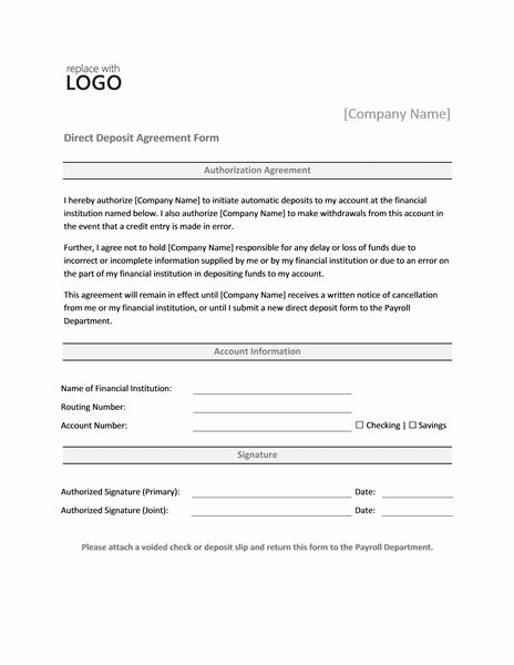 Direct deposit authorization form - Office Templates