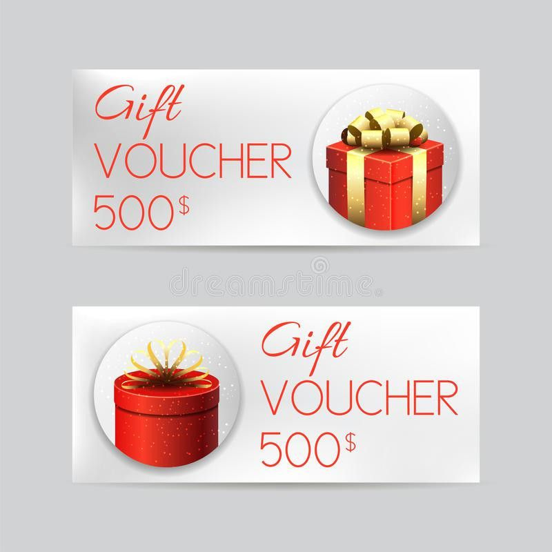 Gift Voucher Template With Christmas Gifts Stock Vector - Image ...
