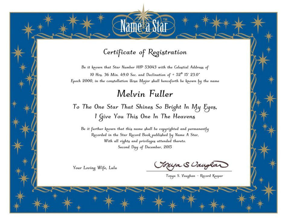 Name a Star Instant Certificate | Name a Star