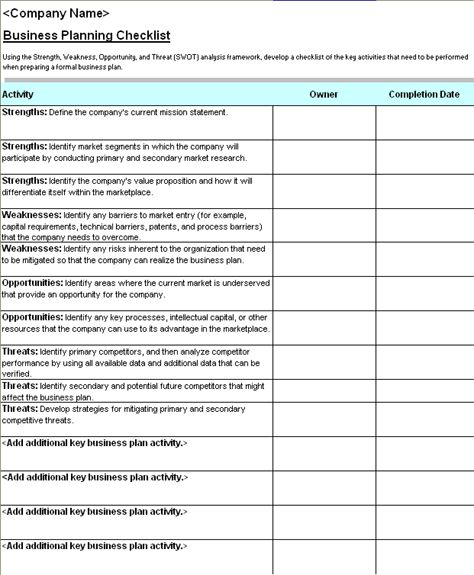 Business plan checklist with SWOT analysis - Office Templates