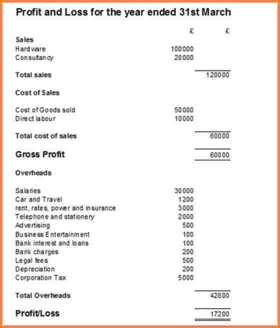 profit and loss statement sample