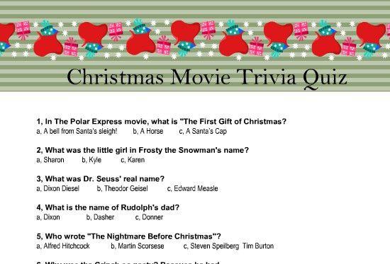 Printable Christmas Movie Trivia Quiz