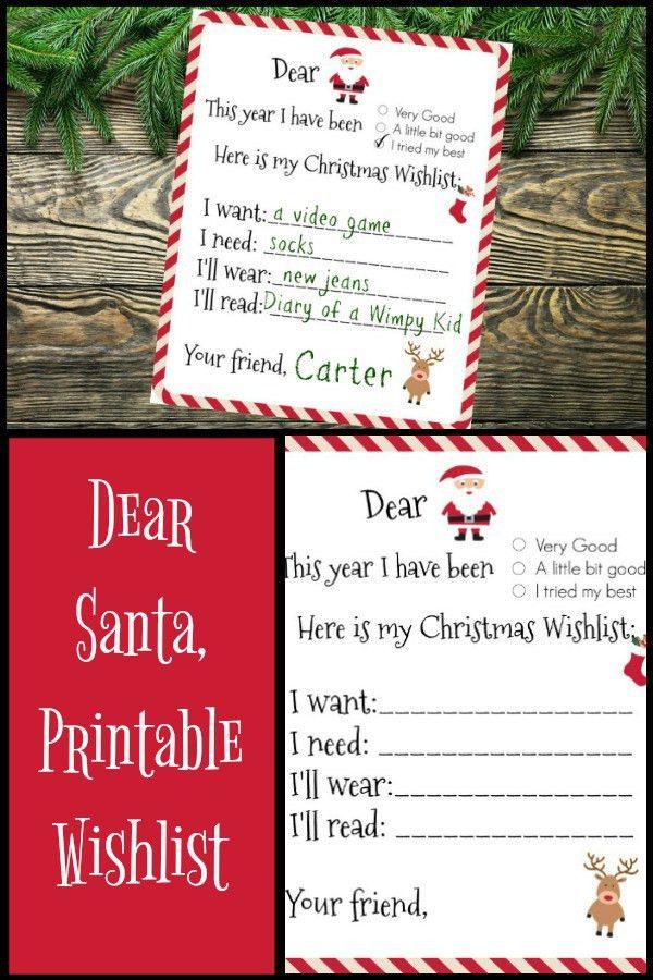 Dear Santa Printable Wishlist - Yellow Bliss Road