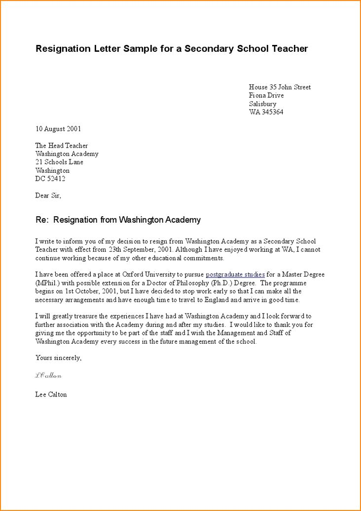6+ Sample of resignation letter - Basic Job Appication Letter