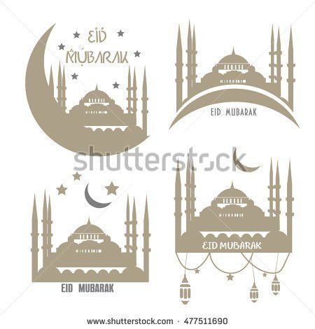 Set Muslim Community Vector Greetings Cards Stock Vector 477521452 ...