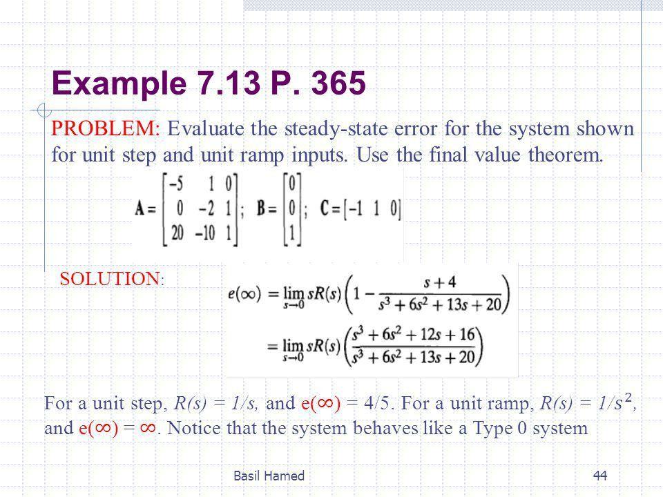 Lect.7 Steady State Error Basil Hamed - ppt video online download
