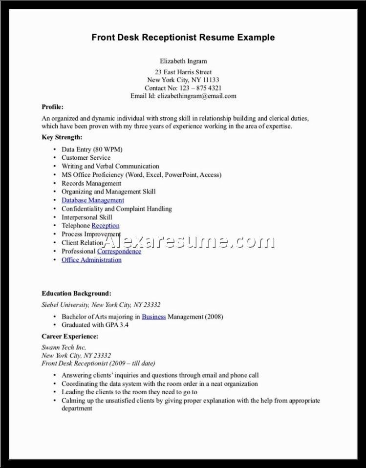 Resume Examples Receptionist [Template.billybullock.us ]