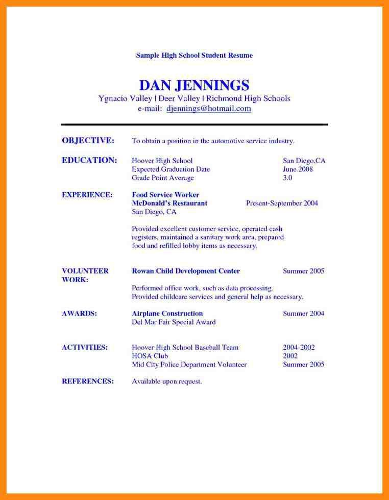 Resume For High School Students, students first job resume sample ...