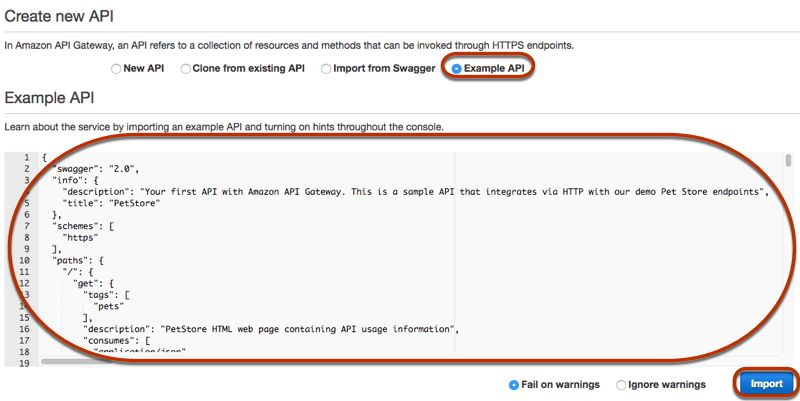 Build an API Gateway API from an Example - Amazon API Gateway