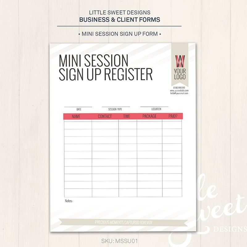 Photography Studio / Mini Session Sign Up Form Photoshop