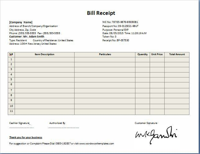 MS Excel Contractor Receipt Template Free | Receipt Templates