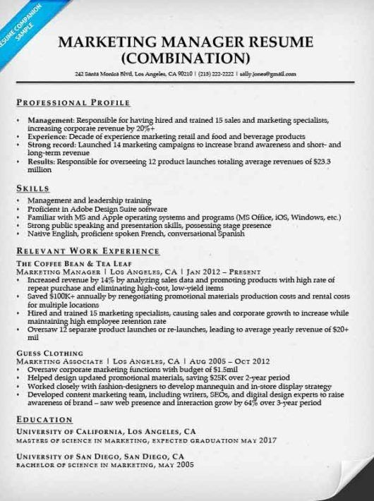 Marketing Manager Resume Sample | Resume Companion
