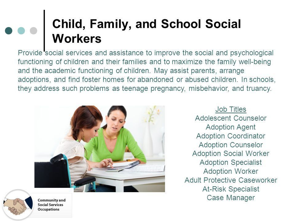 Careers in Psychology. Psych Job Families Child, Family, and ...