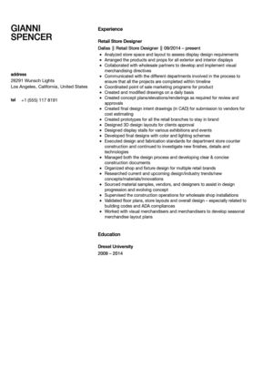Retail Store Designer Resume Sample | Velvet Jobs
