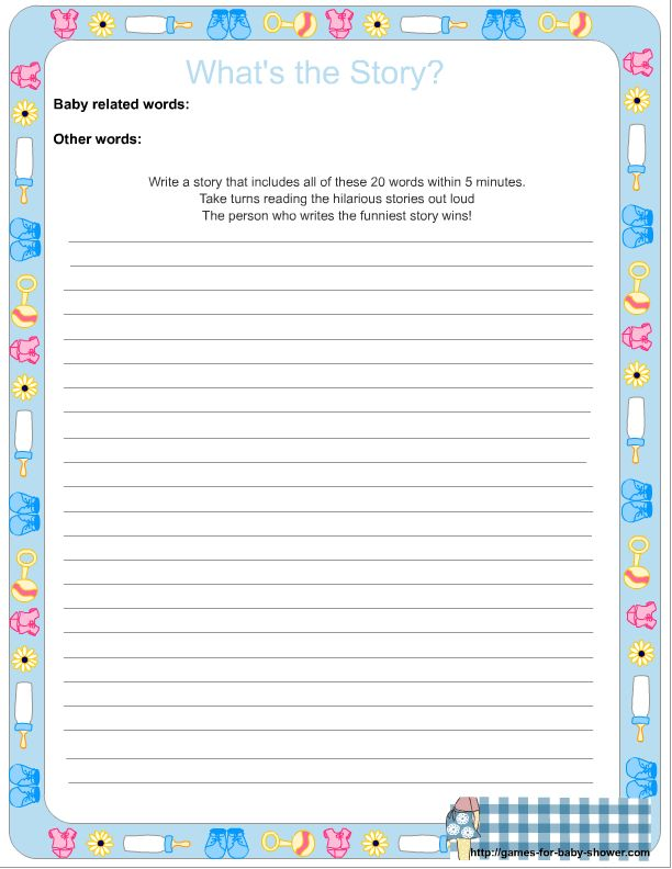 What's the Story, Free Printable Baby Shower Game