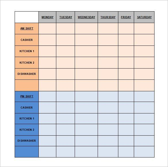 Restaurant Schedule Template - 2 Free Excel, Word Documents ...