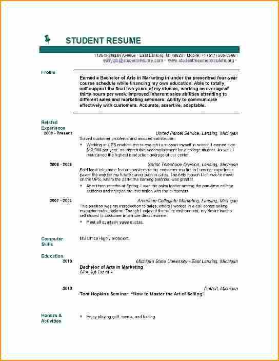 6+ resume templates college student no job experience - Basic Job ...