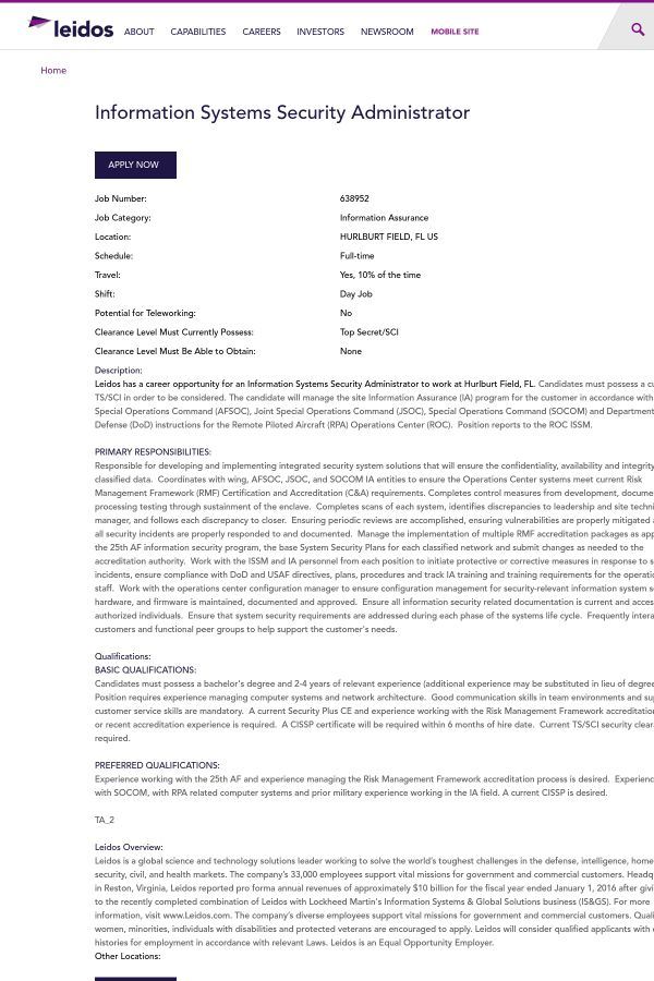 Information Systems Security Administrator job at Leidos in ...