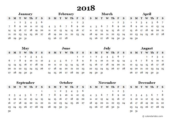 2018 Yearly Blank Calendar Template - Free Printable Templates