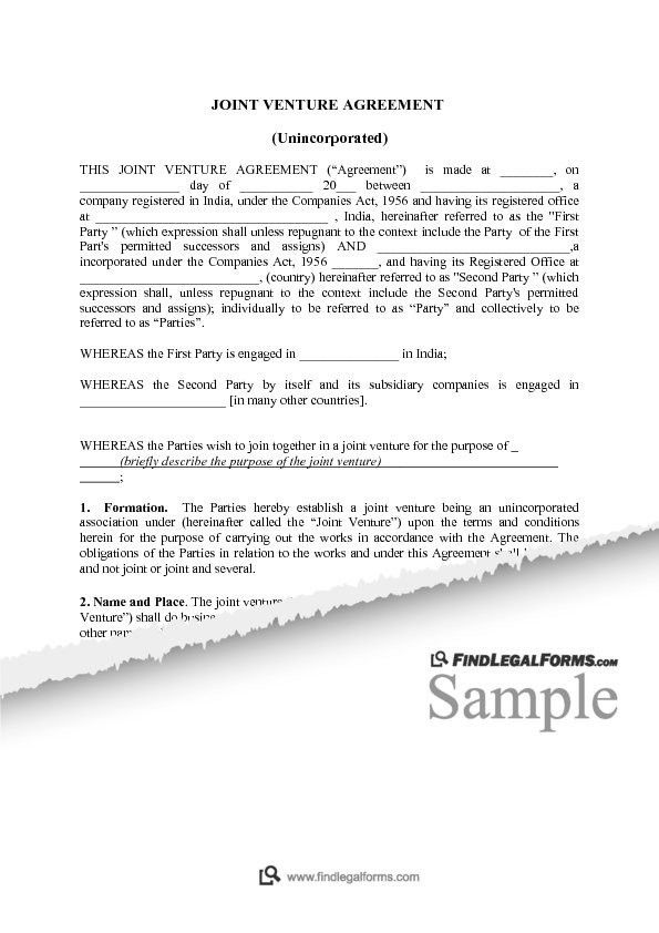 Sample Joint Venture Agreements. Joint Venture Contract Template ...