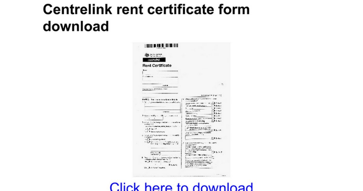 Centrelink rent certificate form download - Google Docs