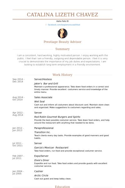 Server/Hostess Resume samples - VisualCV resume samples database
