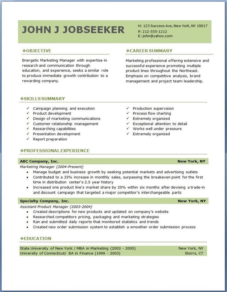 Job Resume Template. Resume Templates Word Free Download - Http ...