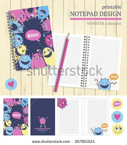 Vector Printable Notepad Design Cover Papers Stock Vector ...