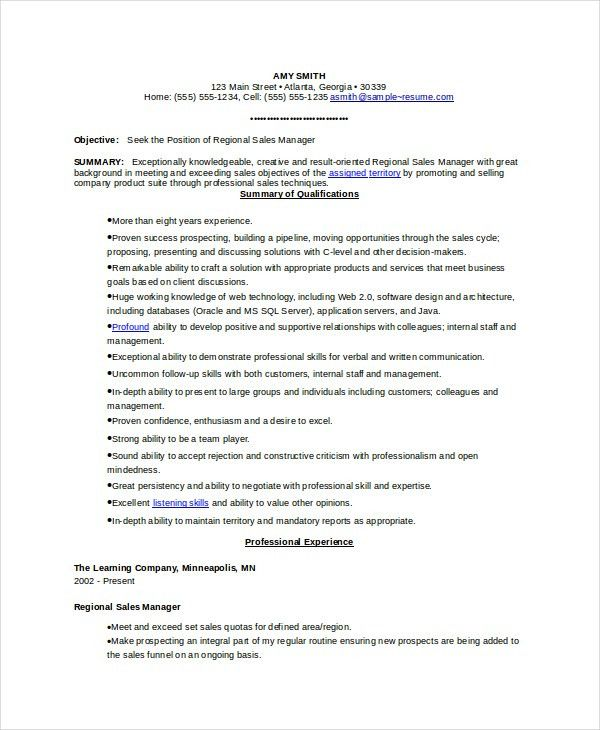 territory manager resume
