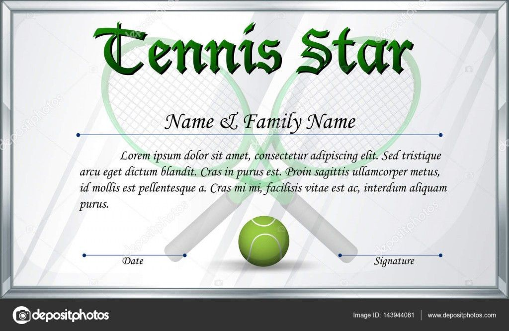 Certificate template for tennis star — Stock Vector ...