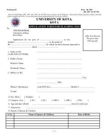 Prescribed Application Form for Teaching Posts - University of ...