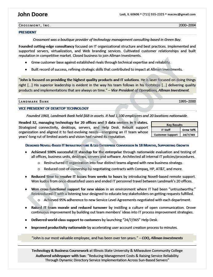 cio resume chief information officer resume samples mary - It Resume Examples