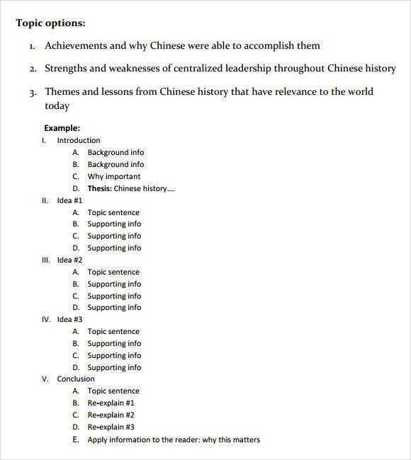 Paper Outline Sample - 5+ Documents in PDF, Word